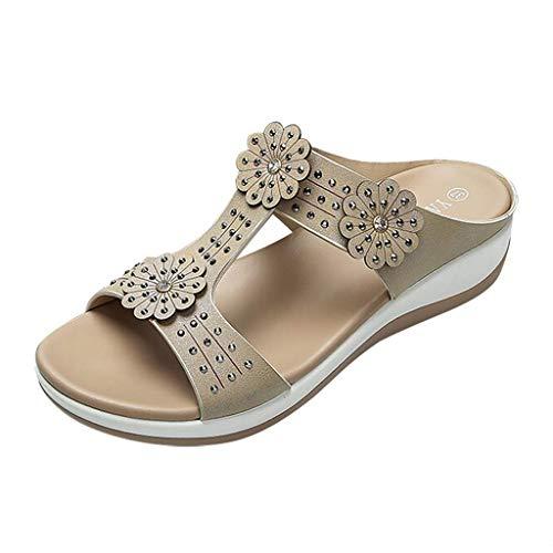 TOPKEAL Sandales Femme, Printemps Été Chaussures Fleurs de Cristal Chaussures de Plage Occasionnels Chaussons Fille Mode 2019 (Kaki, 37)