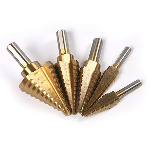 Sellify 5pcs / Set HSS Titan StepBit Dreieck beschichtet Griff Gerade Flöte 6/9/10/12 Steps