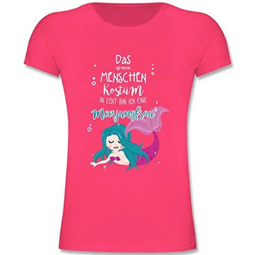 Karneval & Fasching Kinder - Das ist Mein Menschen Kostüm in echt Bin ich eine Meerjungfrau - 152 (12-13 Jahre) - Fuchsia - F131K - Mädchen Kinder T-Shirt