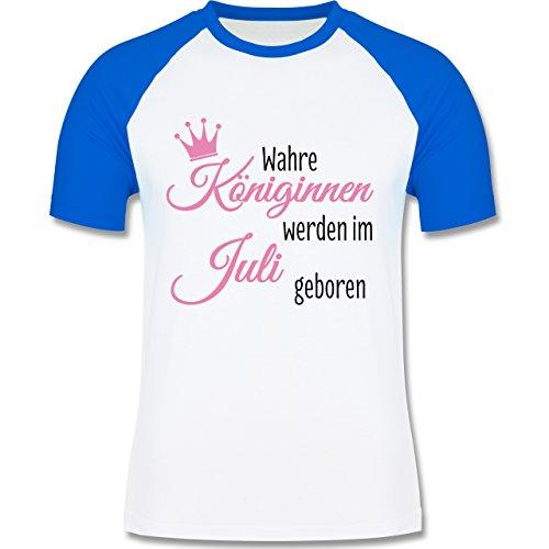 Geburtstag - Wahre Königinnen werden im Juli geboren - zweifarbiges Baseballshirt für Männer Weiß/Royalblau