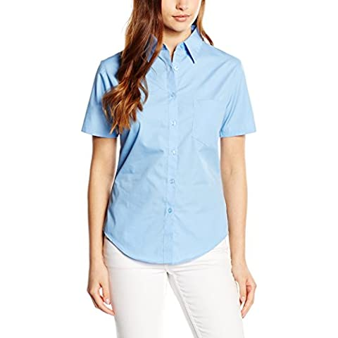 Fruit of the Loom - Camicia - Classico  - Maniche corte -  donna Blu Mid Blu XL