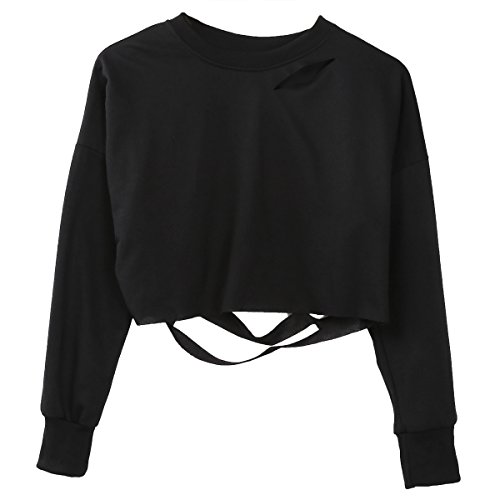 Damen Mädchen Hoodie Long Sleeve Loch Pullover Pullover Pullover Oberteilen (EU 34, Schwarz) -