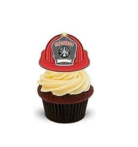 La cuisson fille Fire combattants Bonnet casque de pompier cupcakes comestibles en support de 12 décorations de gâteaux en Papier de riz comestible pour gâteaux - 2 x 12 images A5