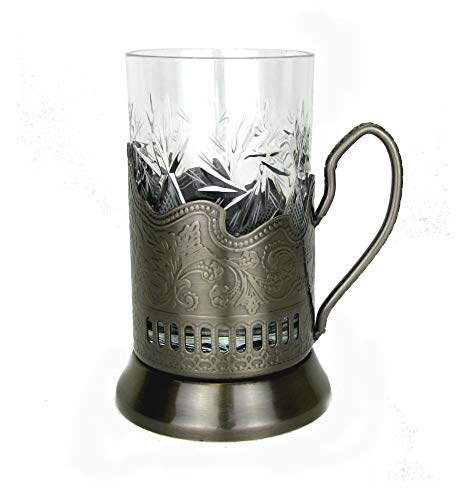 Combination Russian Crystal Hot Tea Glass 8.5 Oz & Metal Glass Holder Podstakannik by WORLD GIFTS