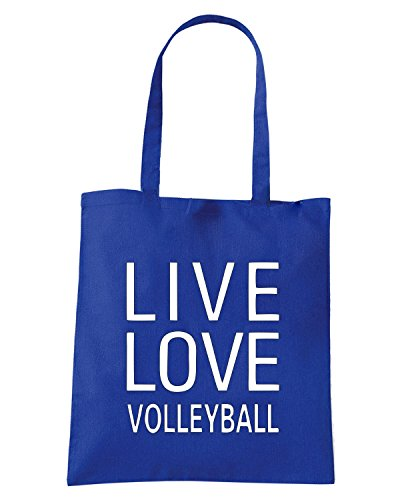 T-Shirtshock - Borsa Shopping OLDENG00809 live love volleyball Blu Royal