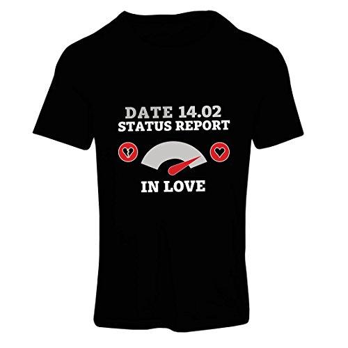 Frauen T-Shirt 14. Februar Valentinstag Statusbericht. Ich Liebe Dich ! (Medium Schwarz Mehrfarben)