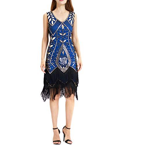 SEWORLD Karnevalsaktion Damen Abendkleider 1920er Kurz Pailletten Flapper Kleid Quasten Saum Abschlussball ()