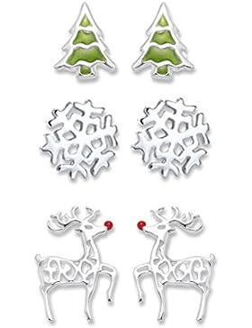 Sterling Silber Ohrringe Ohrringe-Set: Weihnachtsbaum Weihnachten, Schneeflocke Ohrringe und Rudolph Red Nosed...