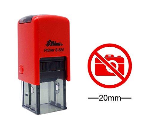 No Cámara de fotos icono de la muestra redonda del sello de goma Autoentintaje BRILLANTE Mini Stamper 20 mm- tinta roja