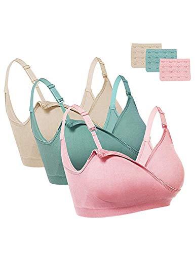 FeelinGirl Damen Still-BH Schwangerschaft Still BHS ohne Bügel Nahtlose (XXL: 90D-95C, Nude Grün Rosa) -