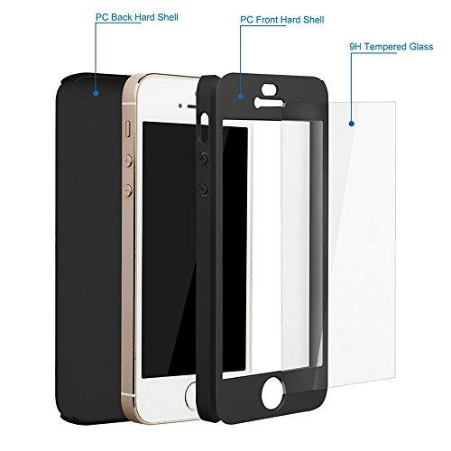 VComp-Shop® 360° Rundum Schutz Vorder-und Rückseite + Panzer Glas Handy Smartphone Ultra dünn Ultra leicht für Apple iPhone 5/ 5S/ SE - SCHWARZ SCHWARZ + Mini Eingabestift