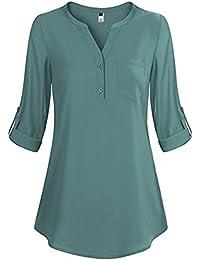 ELFIN Damen Locker Shirt Bluse Elegant Freizeit V-Ausschnitt Chiffon Tunika  Casual Oberteile Lange Tops b521c682a9