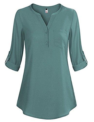 ELFIN Damen Locker Shirt Bluse Elegant Freizeit V-Ausschnitt Chiffon Tunika Casual Oberteile Lange Tops,Türkis,L