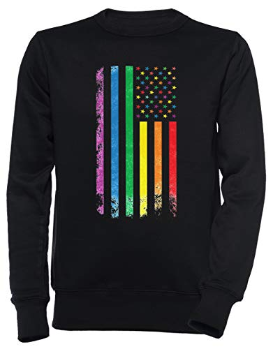 Regenbogen Amerikanisch Flagge Unisex Herren Damen Jumper Sweatshirt Pullover Schwarz Größe S Men's Women's Jumper Black T-Shirt Small Size S