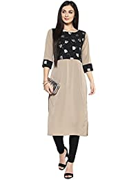 Ziyaa Women's Light Grey Color Foil Print Straight Kurta