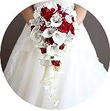 CU Twice 2019 Wasserfall-rote Blumen-Brautsträuße Künstliche Perlen Crystal Blue White Wedding Bouquets Blumenstrauß De Mariage Rose,wie das Bild