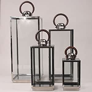 laterne elegant set 4 edelstahl mit ledergriff garten. Black Bedroom Furniture Sets. Home Design Ideas