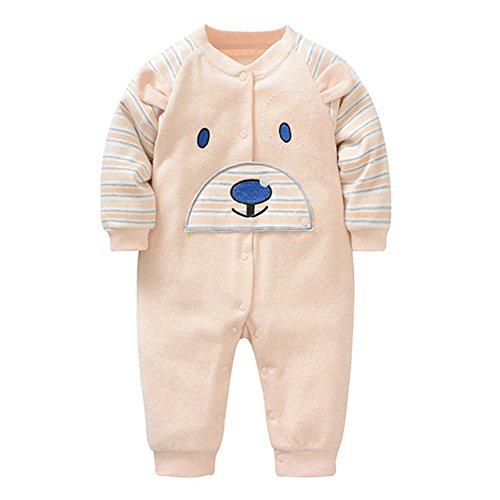 Bébé Garçon Fille Romper - Ours Mignon Bodysuit Infant Enfants Jumpsuit Coton Printemps Automne Vêtements Outfit Unisex Kaki 80