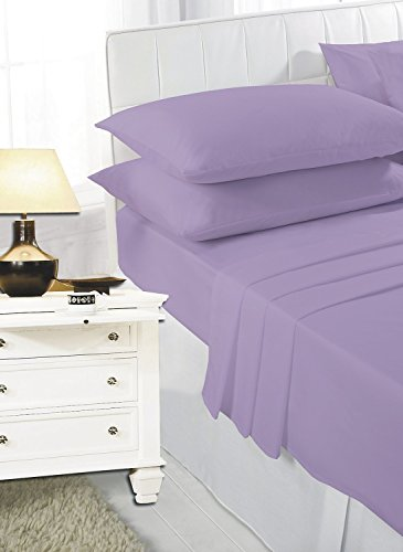 ROHI® Fitted Sheet with Two Pillowcases Pure Poly Cotton Plain, bedding (Double Fitted Sheet & Pillowcases, Lilac)