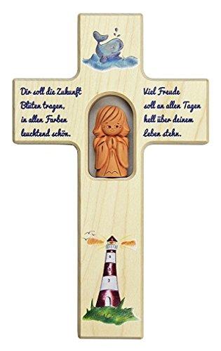 Schutzengelkreuz, Kinderkreuz mit Tonengel aus Ahorn