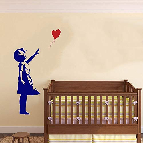 Preisvergleich Produktbild XCGZ Wandsticker Mädchen Ballon fliegt Weg Wandaufkleber Vinyl Wandaufkleber Home Decor Fertige Größe: 58 cm x 78 cm