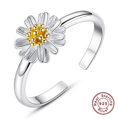 Hddwzh Woman Ring,Mode Elegante 925 Sterling Silber Ringe Für Frauen Gelb Gold Emaille Daisy Flower Finger Ringe Trauringe Schmuck Geschenk (Frauen Wedding-ring-gelb Gold)