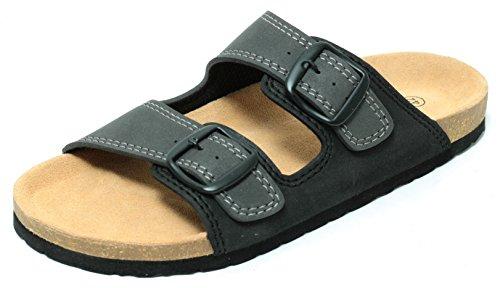 Zapato Herren Pantolette Bio Clogs Sandalen Slipper Tieffußbett Schwarz Grau Gr.41-45 (41)
