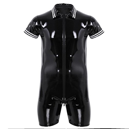 Tiaobug Herren Unterhemd Lackleder Wetlook T-Shirt Kurzarm Bodysuit Herren Body Unterwäsche Slip Schwarz Erotik Kleidung Dessous Clubwear Schwarz 3 XXL(Brustumfang 106cm)