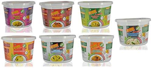 Desi Mealz Ready To Eat Tomato, Lemon Vermicelli Masala and Tamarind Poha Plain-Upma, Masala-Upma Sabudhana Khichdi Breakfast Pack – Set of 6