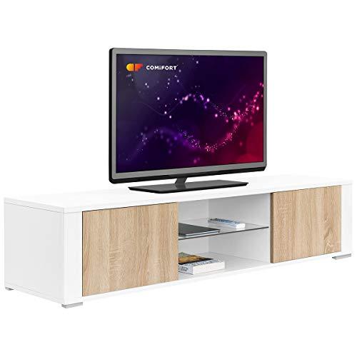 Comifort TV83BS – Mueble TV Salón Moderno Mesa Televisión, Colores: Blanco, Madera De Roble, Blanco/Roble, 140x36x32,5 Cm (Blanco/Roble)