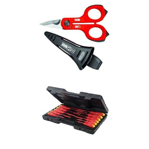 USAG 02070005 207 D Forbice per Elettricisti + Silverline 918535 - Set 11 cacciaviti per elettronica, impugnatura morbida