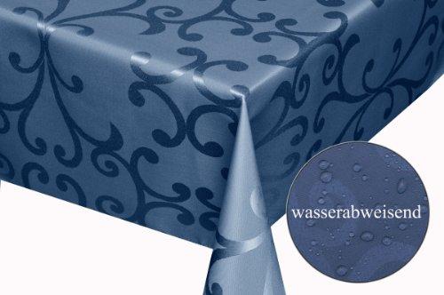 Moderno Textil Tischdecke Milano Design Wasserabweisend mit Fleck-Schutz Lotus-Effekt, eckig 90x90 cm Dunkel-Blau Damast