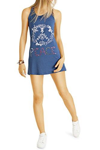 Bestyledberlin Damen Minikleid, Print Tanktops, kurzes Kleid, Longtops t44z  Dunkelblau