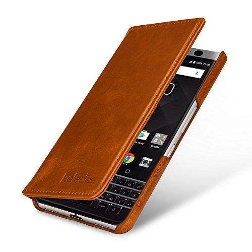 keledes Brieftasche Lederhülle kompatibel mit BlackBerry Keyone mit Kreditkarten-Fächern aus Echtem Leder,Handyhülle Flip Case für BlackBerry Keyone, Cognac Braun