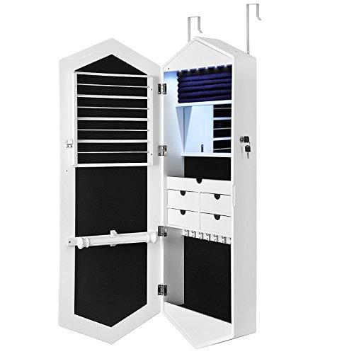 SONGMICS-Armario-para-Joyas-Espejo-joyero-con-Cerradura-y-Luces-LED-Organizador-de-Joyas-de-Pared-Espejo-de-Largo-Completo-y-Espejo-Interior-Blanco-JBC73WT