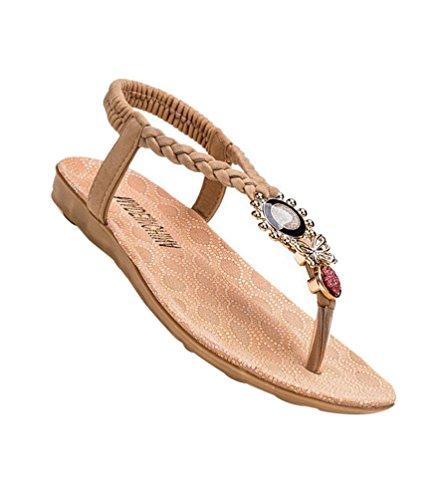 YOUJIA Frauen Sandalen Elegante T-Riemen Böhmen Sommer Flip Flops Flache Schuhe #3 Beige