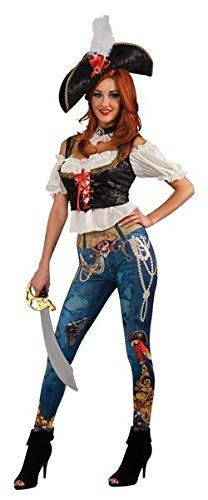 Pirate Booty bedruckte Jeggings Bluse mit angenähter Weste Hut Corset Halsband Piratin Damen Piraten Kostüm STD