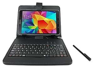 Etui aspect cuir noir DURAGADGET avec clavier QWERTY (ANGLAIS) intégré et port de maintien pour tablette 8 pouces Samsung Galaxy Note 8.0, Tab Pro 8.4 - SM-T320, Tab Pro 8.4 3G/LTE, Tab Pro 8.4 et SmartPad EP785 - micro USB + stylet tactile BONUS - Garantie 2 ans