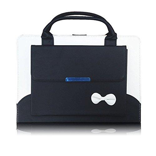 2017 New iPad Case, elecfan®Mädchen iPad 2017 New Handtasche Fallmappe Datei Pocket Kartenbeutel PU Leder Smart Cover mit Auto Wake/Sleep Feature für 9,7 Zoll neues iPad 2017 (2017 New iPad, Schwarz) (Handtasche Leder Tri-fold)
