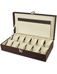 PANKATI Watch Storage Box Organizer with Faux Leather Finish