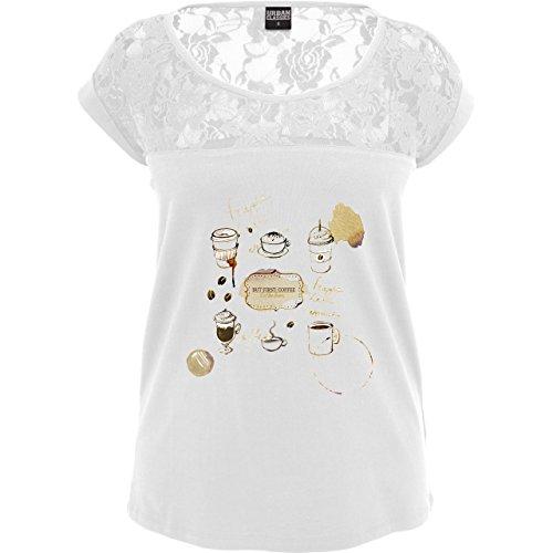 Statement Shirts - But first: Coffee Wasserfarben - Sexy Damen T-Shirt mit  Spitze