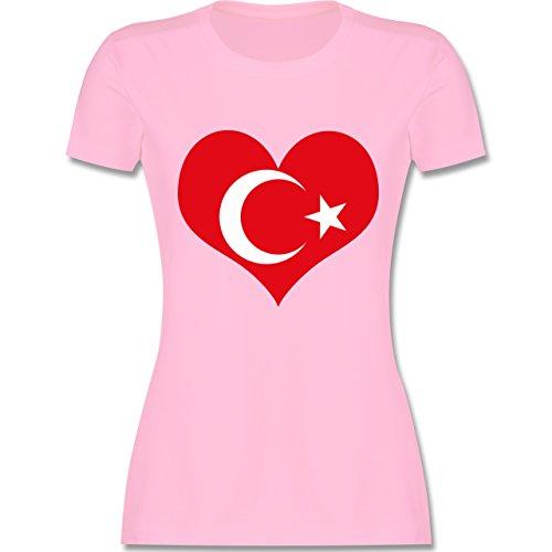 Länder - Türkei Herz - tailliertes Premium T-Shirt mit Rundhalsausschnitt  für Damen Rosa