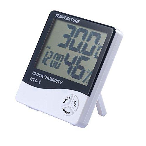 REFURBISHHOUSE Digital LCD Indoor Aussenraum Elektronisches Temperaturfeuchtigkeitsmesser Thermometer Hygrometer Wetterstation Wecker Adj Lcd