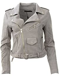 Neue Frauen-Veloursleder-Biker Zip Crop Faux Suede Damen-Jacken-Mantel