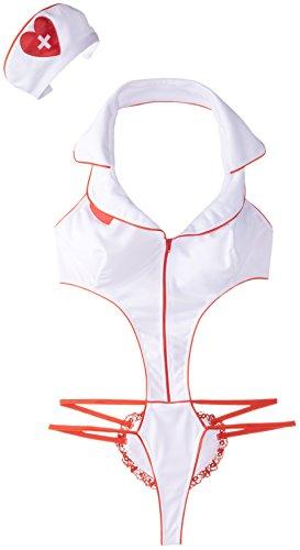 Heisse Krankenschwester Sexy Outfit Rot & Weiß (Vorspiel Halloween Kostüme)