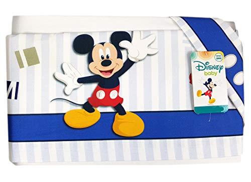 Completo lenzuola lettino culla topolino mickey mouse blu el0205wd set (3pz)