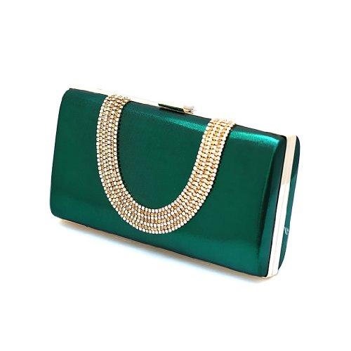 H:oter Frauen u. Mädchen Eleganz & Abschlussball-Partei-Abendhandtasche mit Kristall magischen Ring Griff, Handtasche, Geschenkideen - verschiedene Farben, Preis / Stück Grün