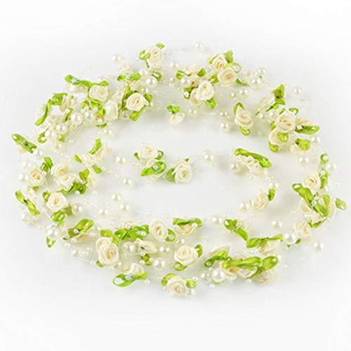 RENNICOCO 5M Pearl Rose Flower Perlenkette Garland Trim Nähen Hochzeits-Party Kleid Dekoration Pearl Trim