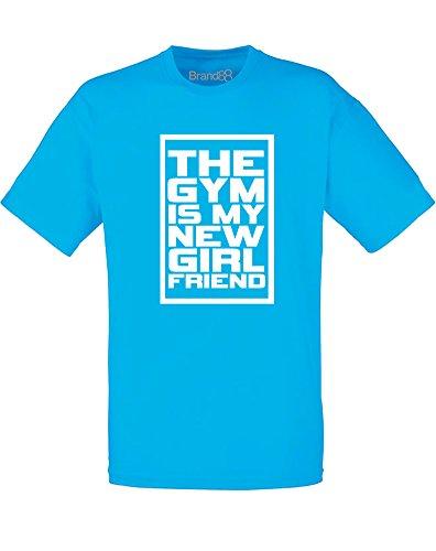 Brand88 - The Gym Is My New Girlfriend, Adults Printed T-Shirt Azurblau/Weiß