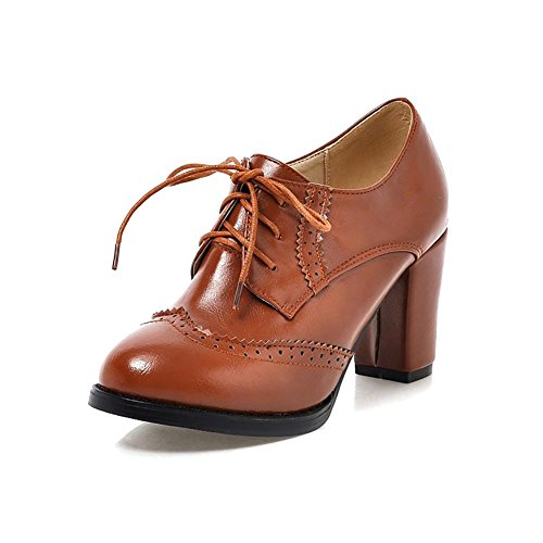 646b7df3 ODEMA Women's Pointed-Toe Brogue Oxfords High Heel Lace-Up Ankle Boots,  Yellow